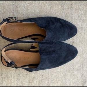 Navy blue suede mule